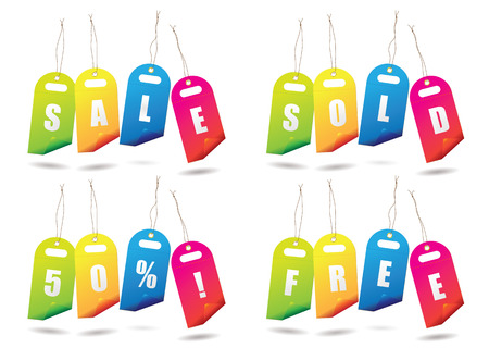 sale tags: Collection of brightly coloured sale tags Illustration