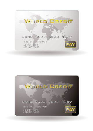 debit card: Two credit cards with drop shadow Illustration