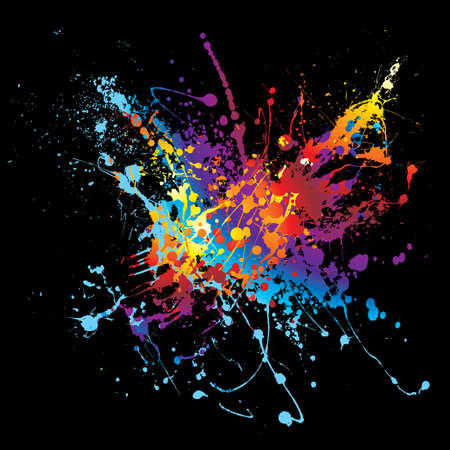 messy paint: Colourful bright ink splat design with a black background