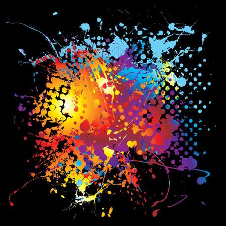 ink splat: De dise�o de colores vivos s�mbolo de la tinta con un fondo negro Vectores
