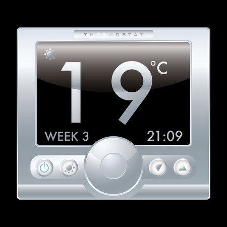 cool down: Illustration of a modern silver metal thermostat with black background Illustration