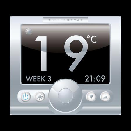 digital thermometer: Illustrazione di un moderno termostato metallo argento con sfondo nero Vettoriali