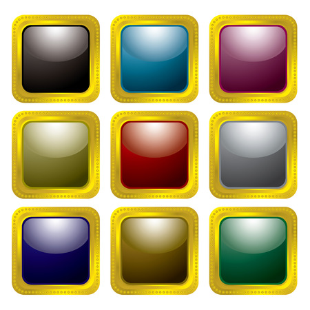 rivet: Collection of nine colourful buttons with gold rivet bevel Illustration
