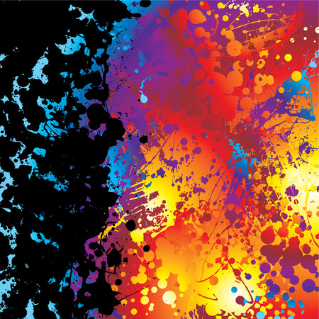 inky: Black ink splat border with a rainbow effect background Illustration