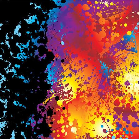 splodge: Black ink splat border with a rainbow effect background Illustration