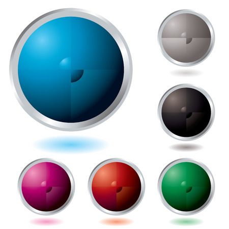 Six Illustrated colourful buttons with a drop shadow Vector