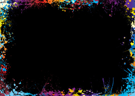 splodge: Black background with a rainbow ink splat border Illustration