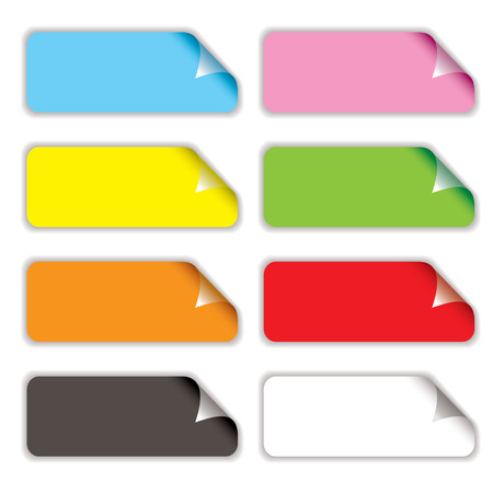 oblong: Collection of eight oblong stickers with page curl in different colours