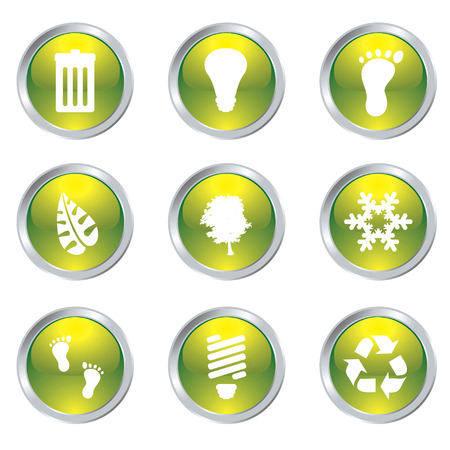 bevel: Ecology set of nine icons with silver bevel in green Illustration