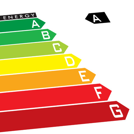 classify: Energy rating system with multi coloured arrows at an angle