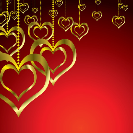 Love heart pair hanging on a golden chain Vector