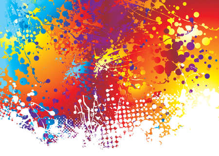 yellow paint: Rainbow background with ink splat effect with white paint