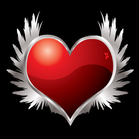 bevel: Red love heart with a silver bevel and metal wings Illustration