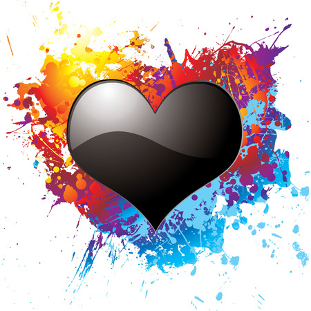 Black heart on a colorful ink splat illustrated background Vector