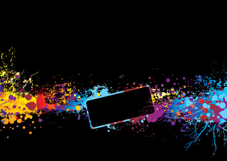 Black background with rainbow ink splat and room to add copy