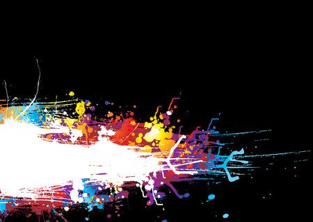 ink splat: Fondo negro con un colorido arco iris, s�mbolo de efecto de tinta