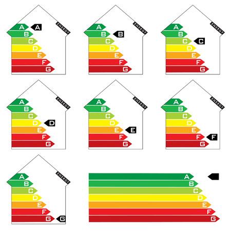 evaluacion: Colecci�n de siete casa energ�a calificaci�n gr�ficos con flechas Vectores