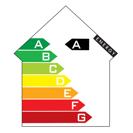 to consume: Single illustrated energy house rating with colourful arrows