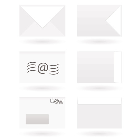 Collection of six envelope icons with drop shadow Stock Vector - 4277685