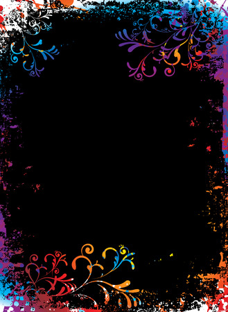 Rainbow grunge floral background with to add your own copy Vector