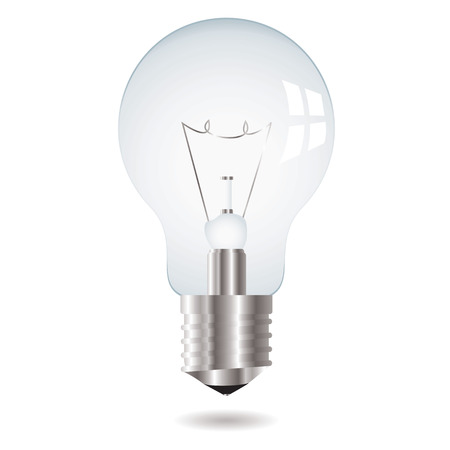 metal light bulb icon: illustration white old fashioned lightbulb with drop shadow