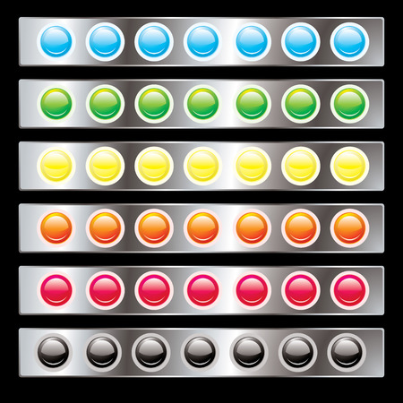 inset: Round button interface with colorful variations on a silver background Illustration