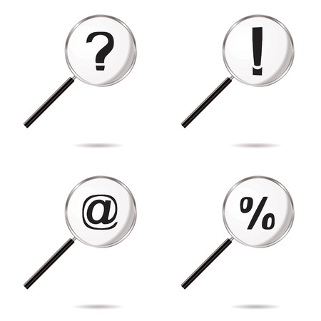 Collection of four magnifying symbols with question mark icons Stock Vector - 4277689