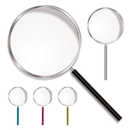 cerchione: Lente d'ingrandimento con manico in plastica e metallo cerchio con le variazioni di colore Vettoriali