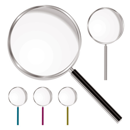 rim: Magnifying glass with plastic handle and metal rim with colour variations Illustration