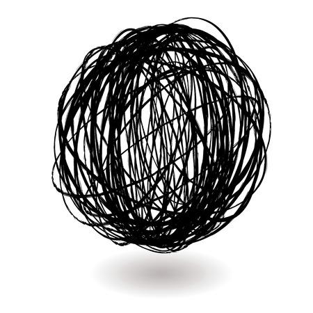 scribble ball icon circle with a drop shadow Stock Vector - 4277719