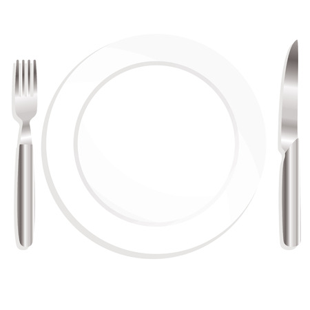formal place setting: Illustrated knife and fork with ceramic plate and shadow Illustration