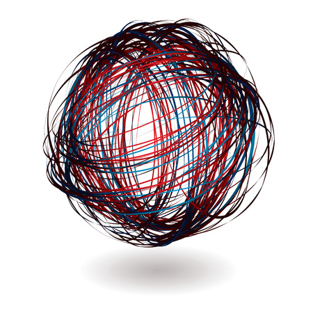 scribble ball with shadow and red and blue lines Vector