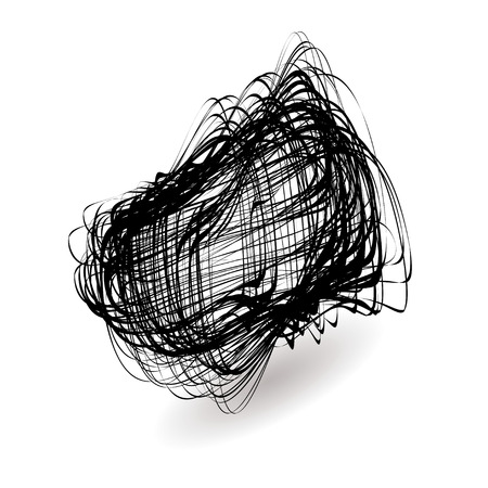 squiggle: Illustrated black mess of a squiggle icon with drop shadow