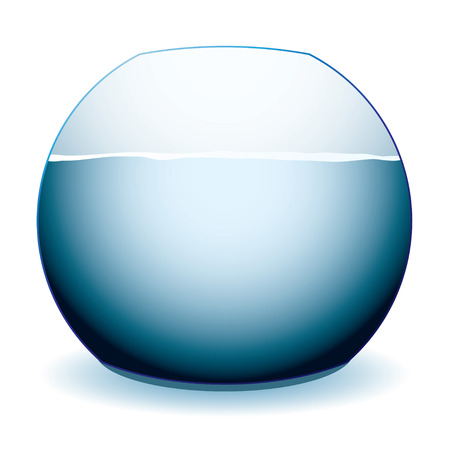 fish tank: Glass fish bowl illustration with shadow and white background Illustration