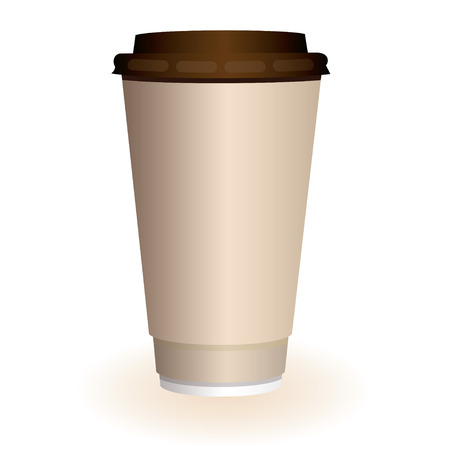 Large brown hot coffee or tea disposable paper cup Vector