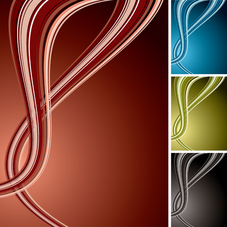 Collection of four coloured background variations with flowing wave design Vector