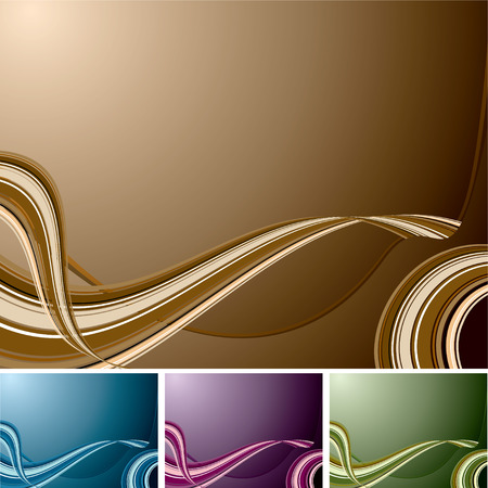 Flowing wave designed background with four colour changes Vector