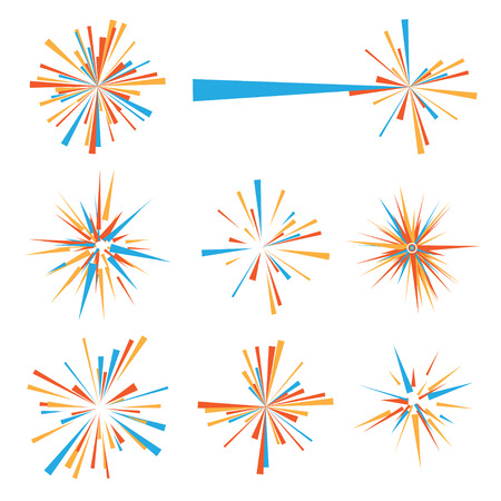 Exploding brightly colored icon in orange and blue Vector