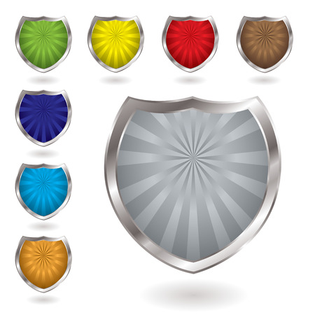 Colorful radiating shields with drop shadow and silver bevel Vector