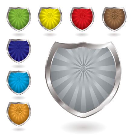 radiating: Coloridos escudos radiantes con sombra y bisel de plata Vectores