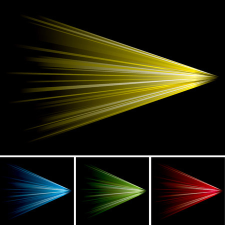 Brightly coloured light shooting into the distance with black background Vector