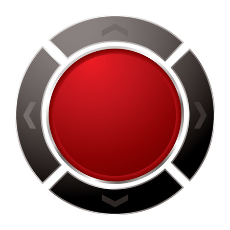 Red power button with black surround with arrow and white background Vector
