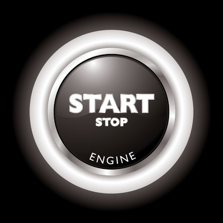 vector button: Press to start stop the engine in black and white Illustration