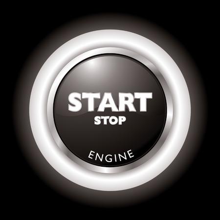boton stop: Pulse para iniciar la parada del motor en blanco y negro