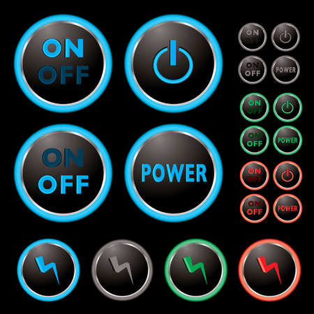 Power buttons with neon surround and colour variations