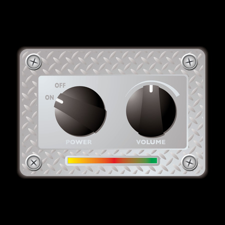 equaliser: Silver metal plate with two plastic knobs with power and volume switch