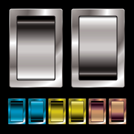 surround: Silver metal surround switch with colour variation in on and off position Illustration