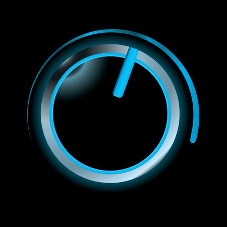 interruttore: Blue neon passare con smusso argento e nero in alto