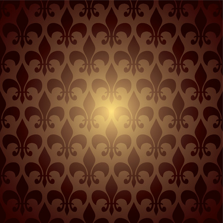 fleur de lis inspired brown and orange seamless background Illustration