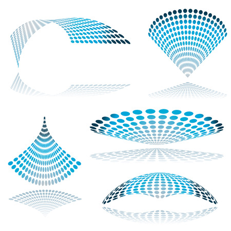 Collection of five mesh shapes in blue with drop shadow Vector